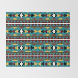 Navajo Teal Pattern Art Throw Blanket