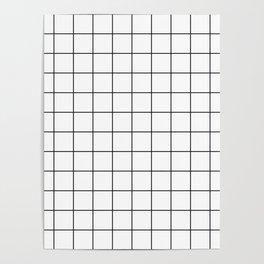 Grid Simple Line White Minimalist Poster