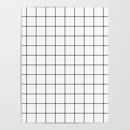 Grid Pattern Stripes Lines Black and White Minimalist Geometric Stripe Line Poster