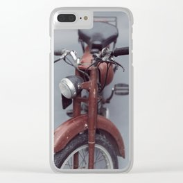 Motorcycle photography, old motorbike, man cave wall art, gift, mancave sign Clear iPhone Case