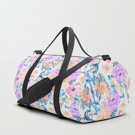Modern watercolor garden floral paint Duffle Bag