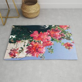 Sky Flowers Painting. Pink Tropical-Looking Flowers in a Hanging Flower Pot Captured from Bellow Rug