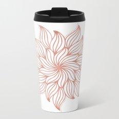 Mandala Floral Rose Gold on White Metal Travel Mug
