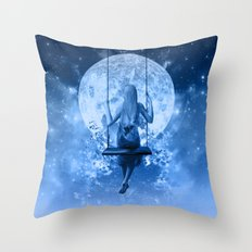 night in blue Throw Pillow