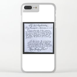The U.S. Constitution First Amendment in calligraphy Clear iPhone Case