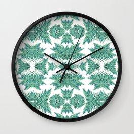 Jungle rhythm - retro inspired palm tree print Wall Clock
