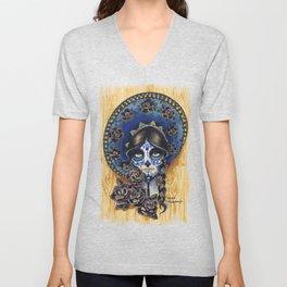 Sombrero Skull Girl Unisex V-Neck
