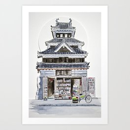 Japan bookstore Art Print
