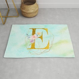 Gold Foil Alphabet Letter E Initials Monogram Frame with a Gold Geometric Wreath Rug