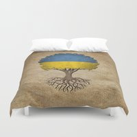 ukraine Duvet Covers featuring Vintage Tree of Life with Flag of Ukraine by Jeff Bartels