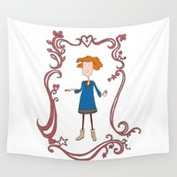 redhead Wall Tapestries featuring Happy redhead woman by Alison Sadler's Illustrations