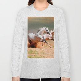 two white horses running Long Sleeve T-shirt