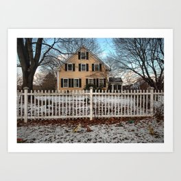 Rhode Island House and Fence and Dinosaurs Art Print