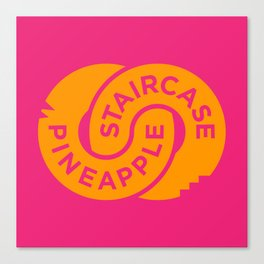 Pineapple Staircase  |  Official Logo in Pink/Orange Canvas Print