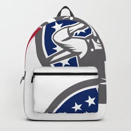 American Construction Worker USA Flag Icon Backpack