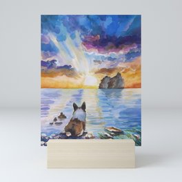 Corgi - dreamer and calm calm sunset Mini Art Print
