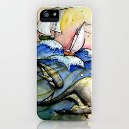 Ships Over Whales iPhone Case