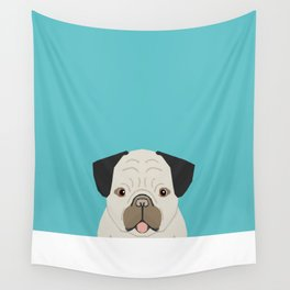 Dylan - Pug cute gift ideas for pug owners dog lover gifts and cell phone case with pug illustration Wall Tapestry