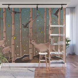 Birch Trees with Birds And Deer Wall Mural