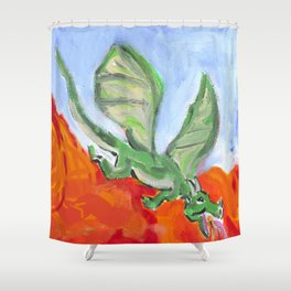 Fire Breathing Dragon Shower Curtain