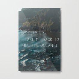 Oregon coast, Pacific Ocean, Pacific Coast, Ocean waves, Water, Blue Waves, Nature, Hipster, Moody Metal Print