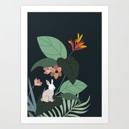 Bunny in the jungle Art Print