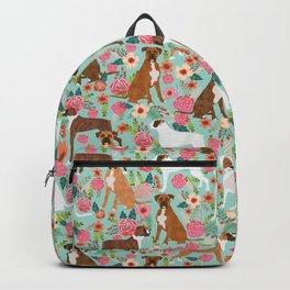 Boxer floral dog breed gifts for boxer lovers pet florals boxers must haves Backpack