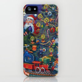 Santa Putting Presents Under The Tree iPhone Case