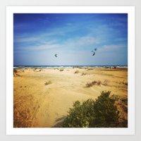 Kite Surfers at Lady's Mile Art Print