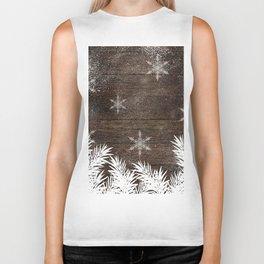 Winter white snow pine trees brown rustic wood Christmas Biker Tank