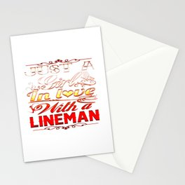In love with a Lineman Stationery Cards
