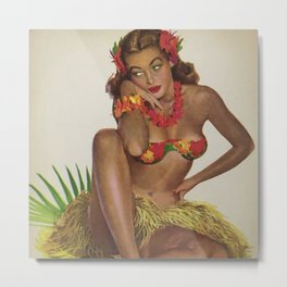 Hawaiian Hula Maiden Vintage Travel Poster Metal Print