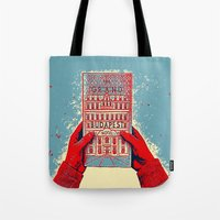 the grand budapest hotel Tote Bags featuring GRAND BUDAPEST HOTEL COLOR by Oleol