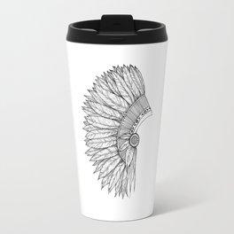 Native Feather Headdress - ink illustration Travel Mug