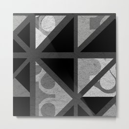 Cotton Textured Geometrical Abstract Design Metal Print