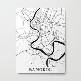 Bangkok Thailand Minimal Street Map Metal Print