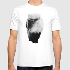 Walking Bear (black & white version) MEDIUM Mens Fitted Tee White
