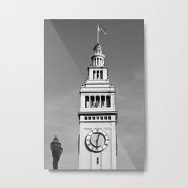 Ferry Building + USA Flag, San Francisco Metal Print