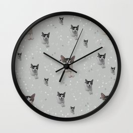 Cats Pattern.   cats, pattern, children, pet, feline, animals, Society6. Wall Clock