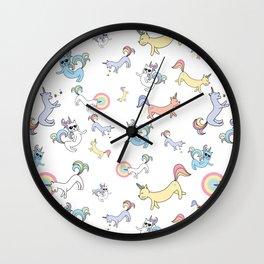 Purrnicorn in white Wall Clock