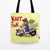 mario kart Tote Bags featuring Kart Fink Big Bro! by Avedon Arcade