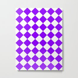 Large Diamonds - White and Violet Metal Print