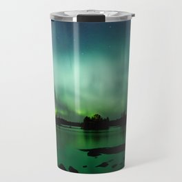 Northern lights panorama over lake landscape in Finland Travel Mug