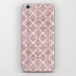 Faux Velvet Dusty Pink and Cream Lattice Pattern iPhone Skin
