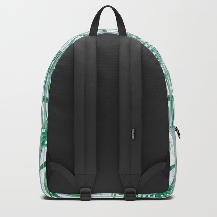 Palm leaves on a striped background. Backpack
