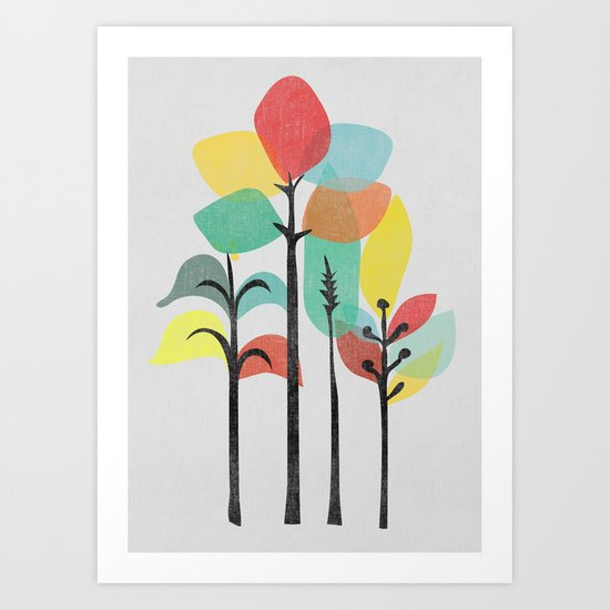 Tropical Groove (gray) Art Print