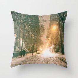 Winter - New York City - Snows Falls - Washington Square Throw Pillow