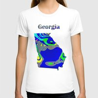georgia T-shirts featuring Georgia Map by Roger Wedegis