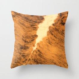 Burnt Orange Texas Longhorn Animal Leather Pattern Throw Pillow
