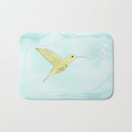 Humming bird with fuchsia Bath Mat